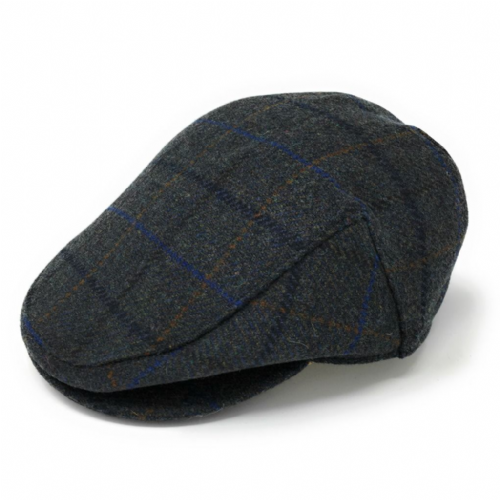 Waterproof Tweed Flat Cap - Failsworth - Charcoal Grey -